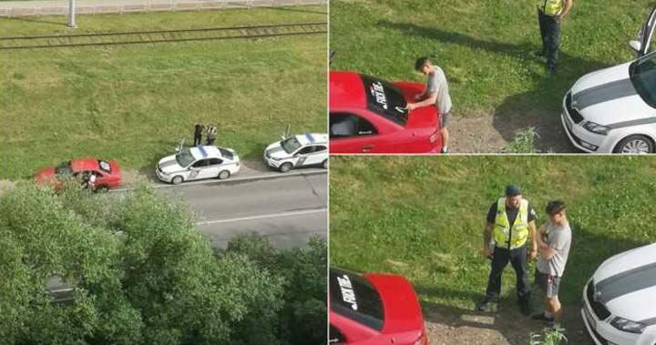 Un şofer a fost oprit de poliţişti şi pus să şteargă mesajul de pe lunetă