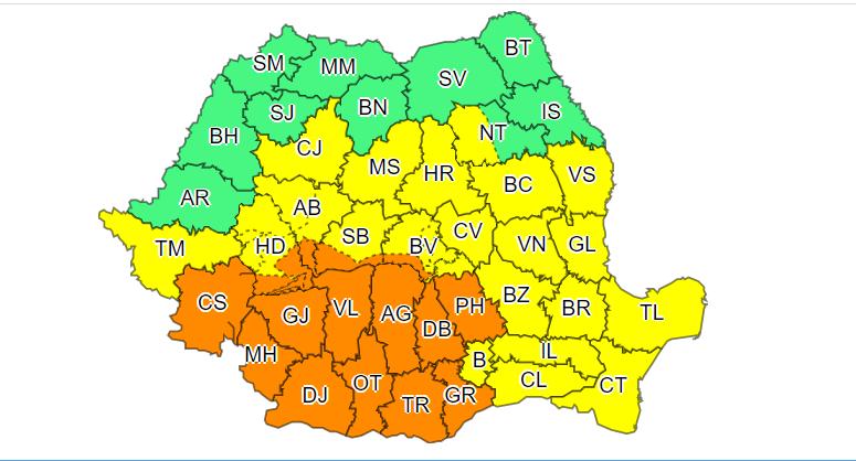 Cod portocaliu de instabilitate atmosferică, în Oltenia, local în Muntenia, în sudul Banatului şi în zona Carpaţilor Meridionali/ Hidrologii anunţă cod galben şi cod portocaliu de inundaţii în mai multe judeţe, până vineri dimineaţă
