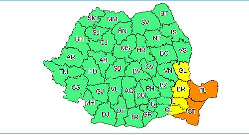 Cod galben de ninsori viscolite în Dobrogea, estul Munteniei şi sud-estul Moldovei, până joi dimineaţă/ În Tulcea şi Constanţa este cod portocaliu