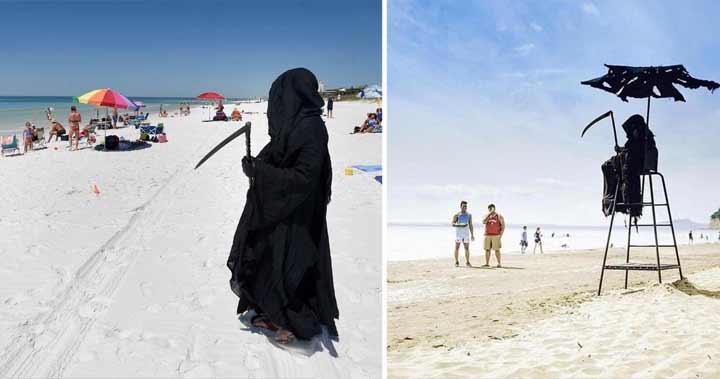 Moartea pe plajă! A ieşit pentru a le transmite un mesaj turiştilor