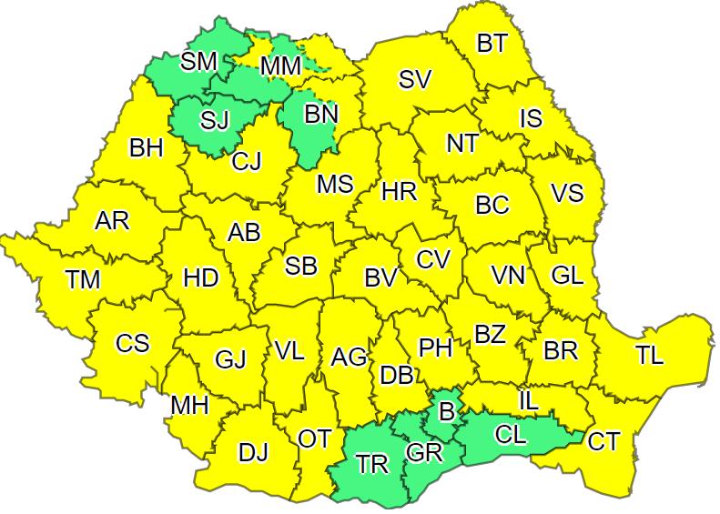 Cod galben de vânt puternic, marți, în aproape toată țara