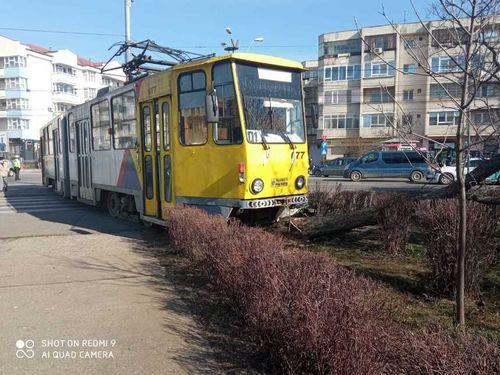 UPDATE - Un tramvai a ieşit complet de pe şine, lovind un autoturism şi oprindu-se într-un copac dintr-un parc, la Ploieşti/ O femeie a fost transportată la spital/ Circulaţia tramvaielor pe principala linie din oraş a fost blocată - FOTO, VIDEO
